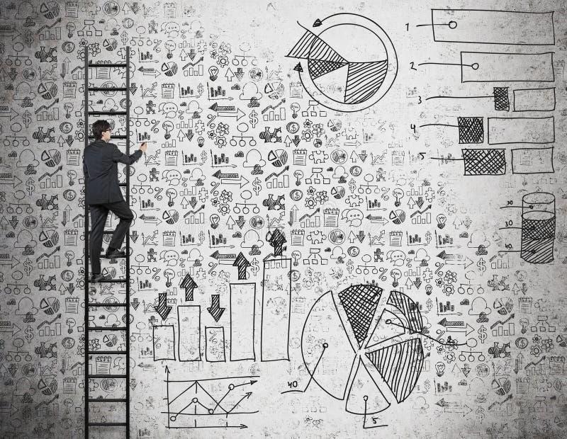 Un hombre de negocios en la escalera está dibujando iconos y cartas del negocio en la pared ilustración del vector