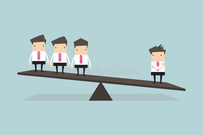 Un hombre de negocios en un lado de balanza es más pesado que muchos ejecutivos el otro lado ilustración del vector