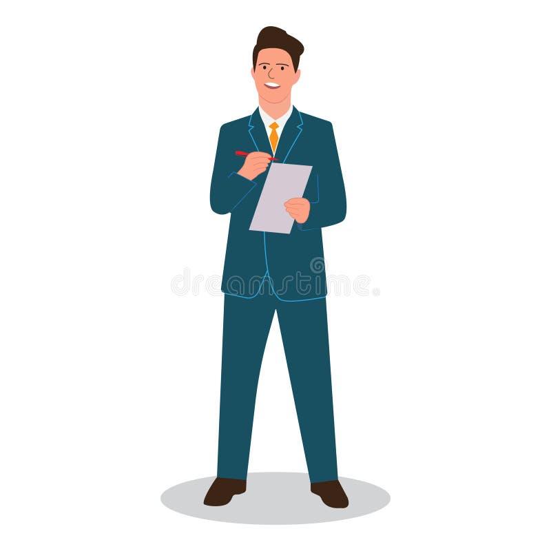 Un hombre de negocios escribe una pluma en el papel con un informe del informe, planeamiento estratégico, plan empresarial Vector ilustración del vector