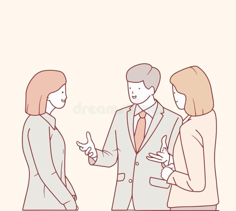 Un hombre de negocios está hablando con su colega ilustración del vector