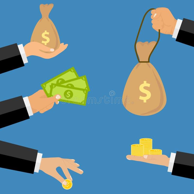 Un hombre de negocios está sosteniendo el dinero Un bolso del dinero, billetes de banco, monedas de oro ilustración del vector
