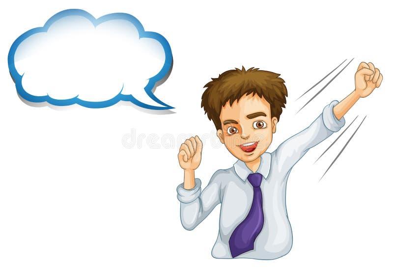Un hombre de negocios joven feliz con un reclamo vacío stock de ilustración