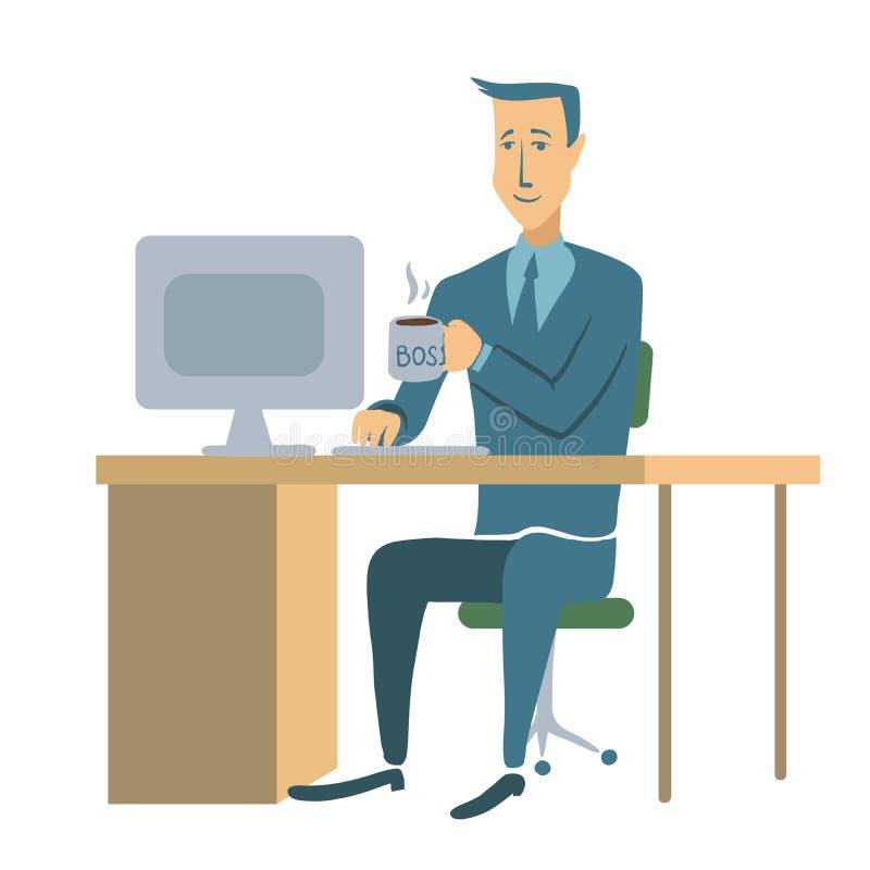 Un hombre de negocios o un oficinista joven que se sienta en una tabla y que trabaja en un ordenador Ejemplo del carácter del hom stock de ilustración