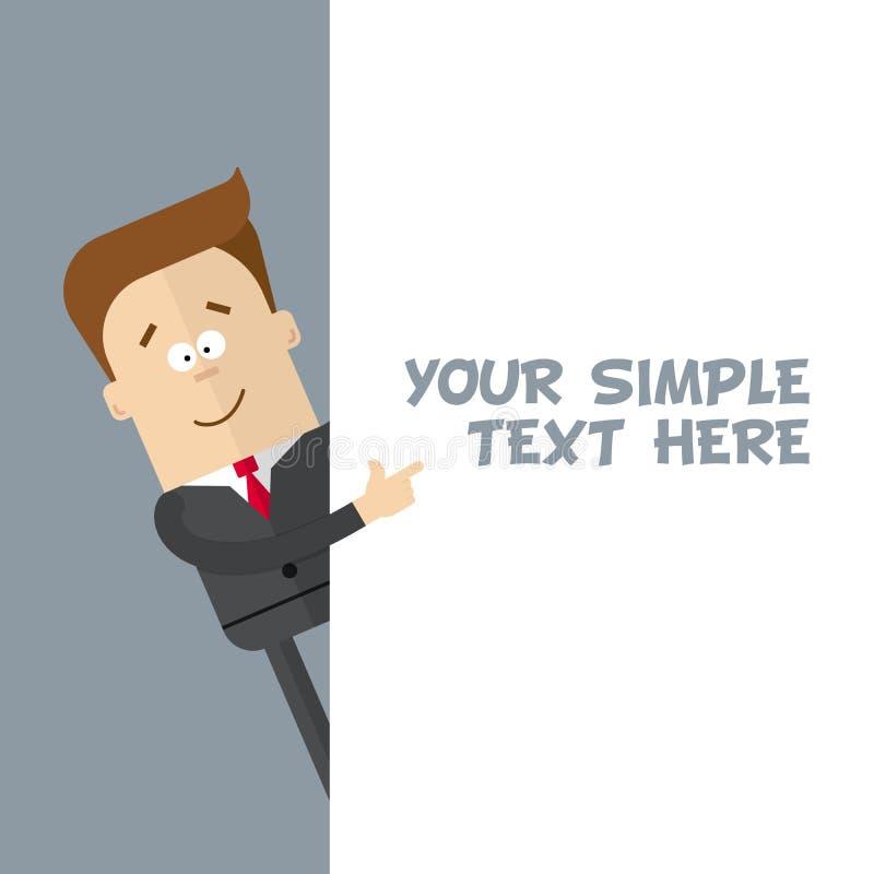 Un hombre de negocios o un encargado de un primer muestra en el cartel donde usted puede poner su texto ilustración del vector