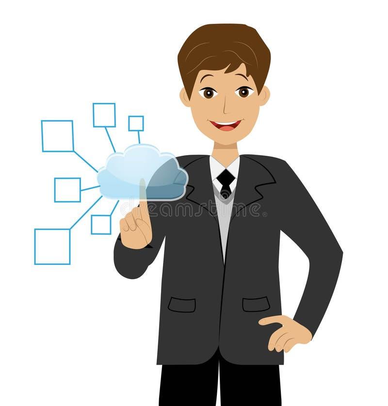 Un hombre de negocios presiona el botón virtual stock de ilustración
