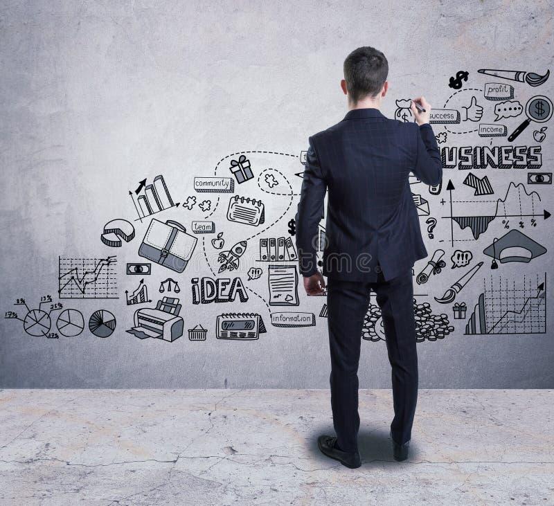 Un hombre de negocios que dibuja un bosquejo del negocio en la pared foto de archivo libre de regalías