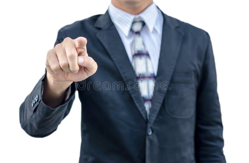 Un hombre de negocios que señala su finger en usted, aislado fotos de archivo