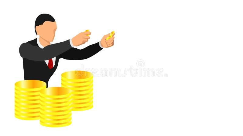 Un hombre de negocios que sostiene una moneda de oro ejemplo del tener monedas de oro como inventario Fondo promocional y de la p ilustración del vector