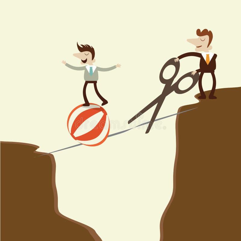 Un hombre de negocios toma un paseo peligroso aventurado en una cuerda tirante y una e libre illustration