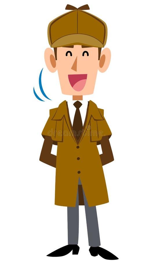 Un hombre detective que se arrastra con una sonrisa ilustración del vector