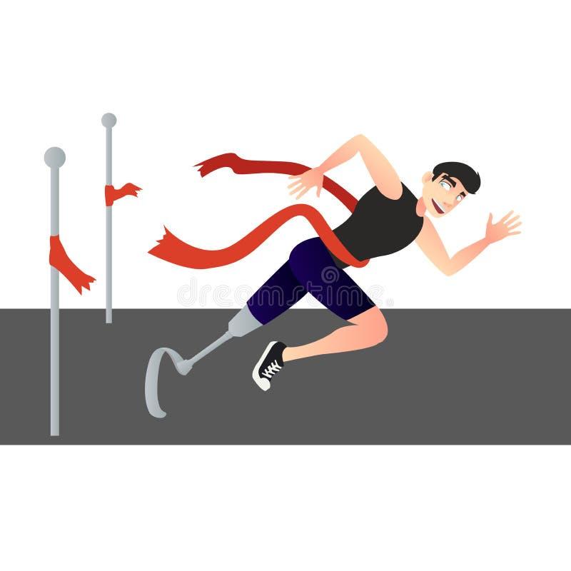Un hombre discapacitado cruza la meta ilustración del vector