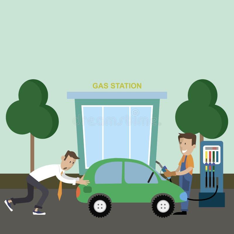 Un hombre empuja un coche en la gasolinera ilustración del vector