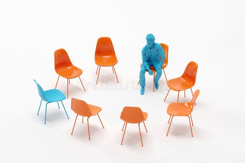 Un hombre en el color azul que mira la silla azul excepcional entre sillas anaranjadas fotografía de archivo libre de regalías