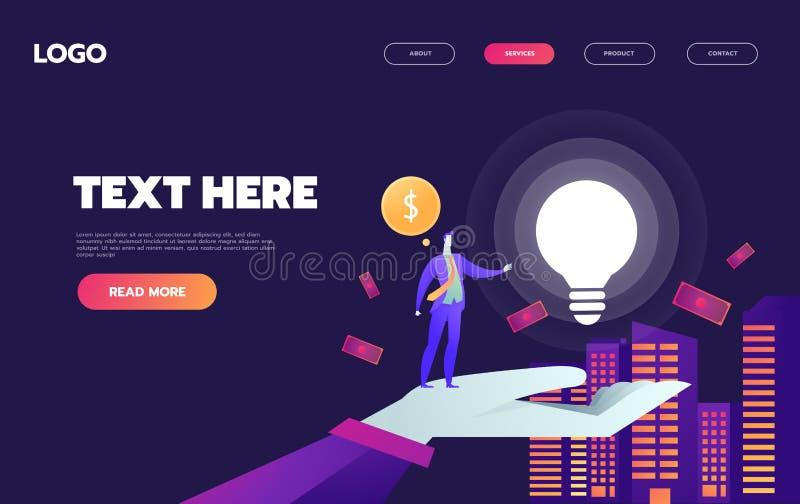 Un hombre en la ciudad con una gran bombilla, y dinero. Idea, lanzamiento inicial, éxito empresarial. Paleta violeta. website libre illustration