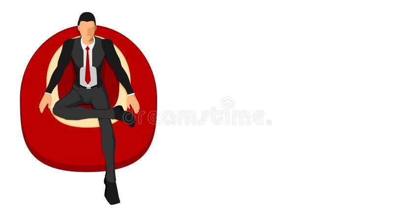 Un hombre en ropa aseada y un traje se está sentando gozando de un sofá de la espuma libre illustration