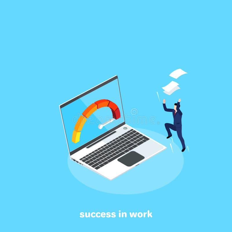 Un hombre en un traje de negocios está muy contento con el éxito en su trabajo lanza los papeles sobre su cabeza libre illustration