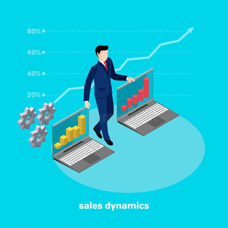 Un hombre en un traje de negocios presenta cartas del crecimiento de las ventas en los ordenadores portátiles libre illustration