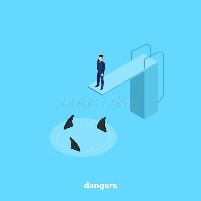 Un hombre en un traje de negocios se está colocando en una plataforma de salto y abajo es tiburones de los nadadores ilustración del vector