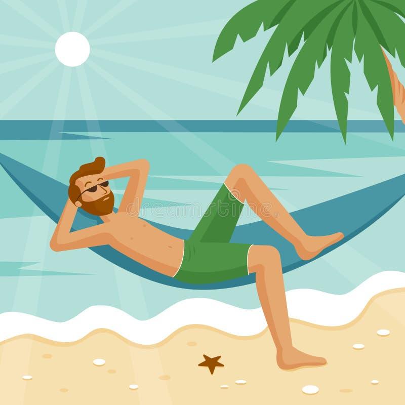 Un hombre en una hamaca que descansa sobre el mar ilustración del vector
