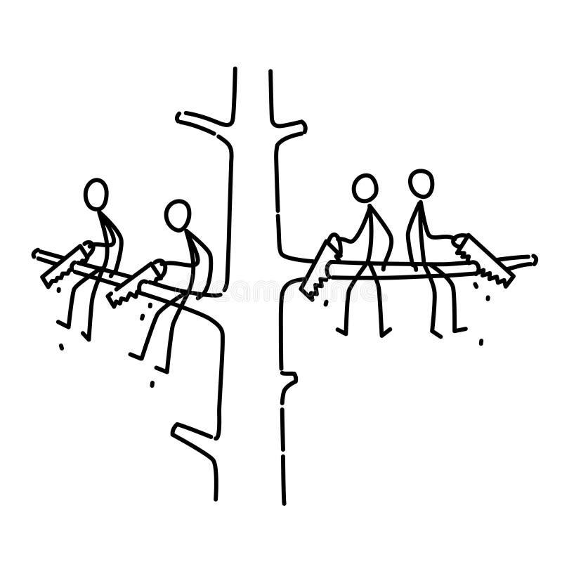 Un hombre está aserrando una rama en la cual él se esté sentando Ejemplo de los hombres que se sientan en diversas ramas de un ár libre illustration