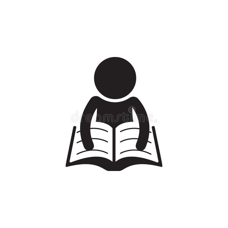 un hombre está leyendo un ejemplo de libro Elemento del icono de la biblioteca para los apps móviles del concepto y del web Detal libre illustration