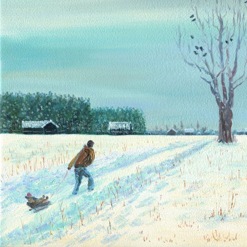 Un hombre está llevando a un niño en un trineo Nieve profunda fresca ilustración del vector