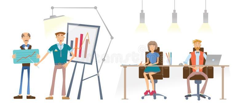 Un hombre está mostrando un gráfico financiero Un hombre y una mujer en la tabla miran y escuchan el altavoz Presentación del asu ilustración del vector