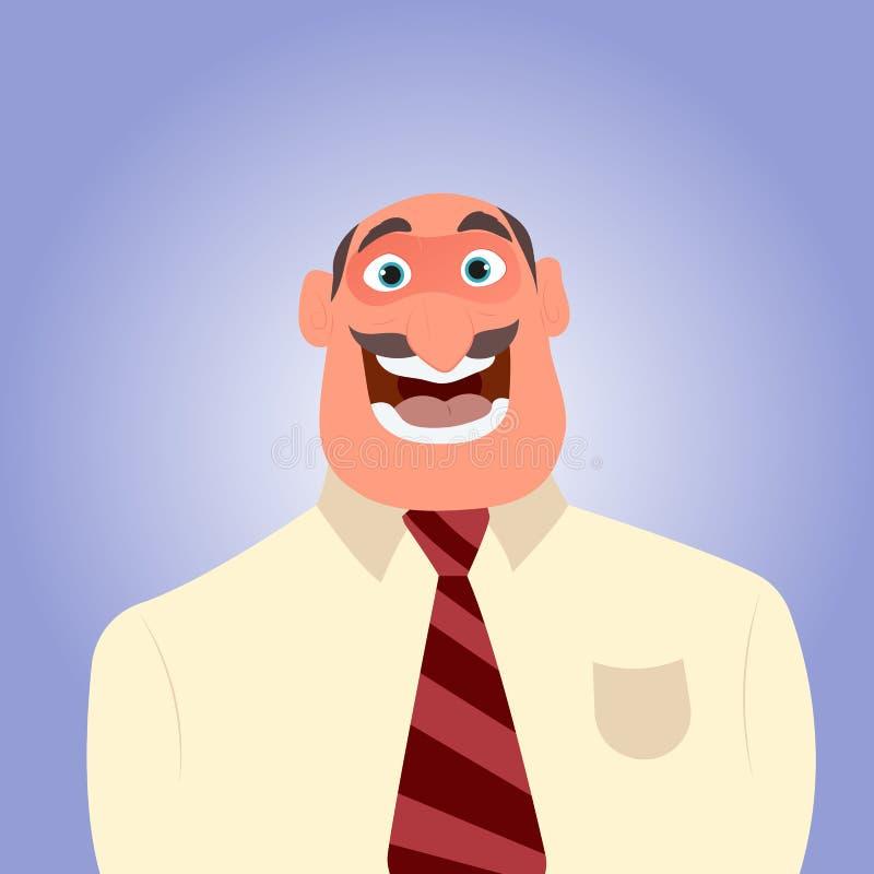 Un hombre feliz con un bigote con la boca abierta stock de ilustración
