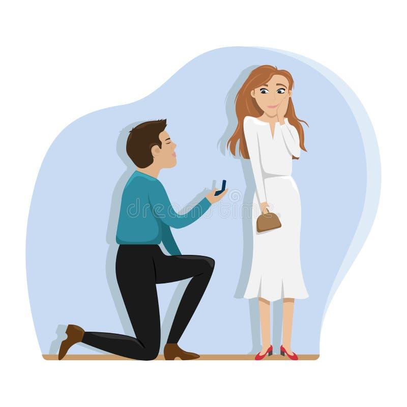 Un hombre hace una oferta para casar a una muchacha en una rodilla Amor, boda, compromiso Ejemplo plano del vector ilustración del vector