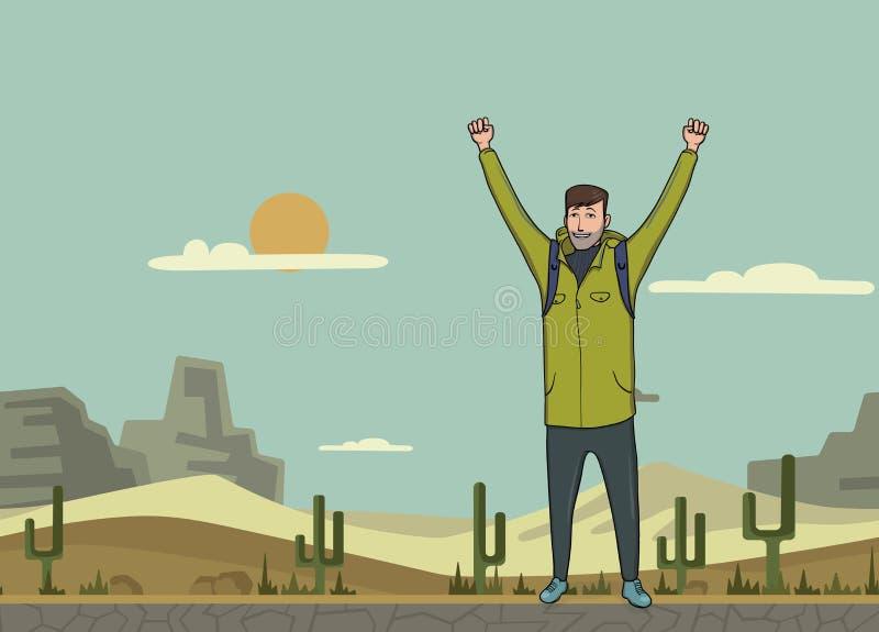 Un hombre joven, backpacker con las manos aumentadas en el desierto Caminante, explorador Un símbolo del éxito Ejemplo del vector libre illustration