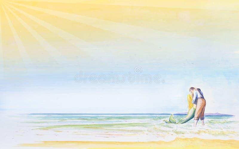 Un hombre joven besa una sirena por el mar Fondo ligero romántico para su diseño Tiempo de vacaciones de la inscripción watercolo ilustración del vector