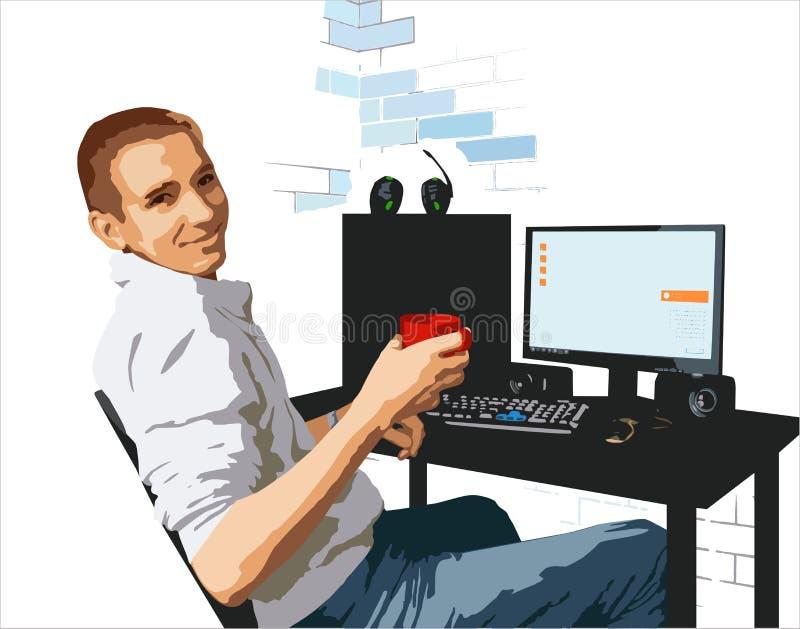 Un hombre joven con una taza en su mano en el escritorio ilustración del vector