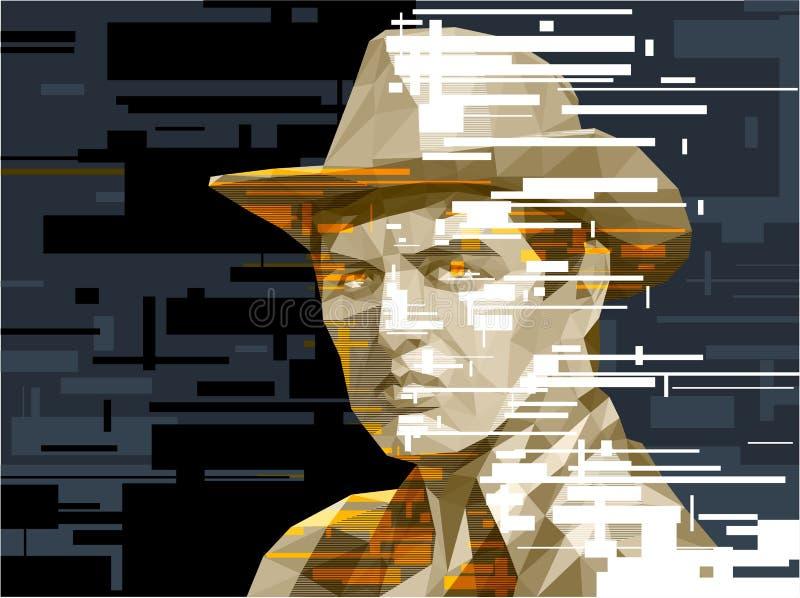 Un hombre joven en un sombrero de vaquero ilustración del vector
