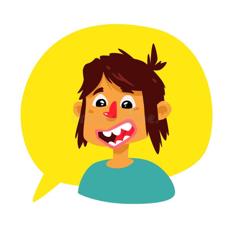 Un hombre joven en una burbuja cómica Vector Avatar del individuo El muchacho comunica en la charla Ejemplo en el estilo de la hi ilustración del vector