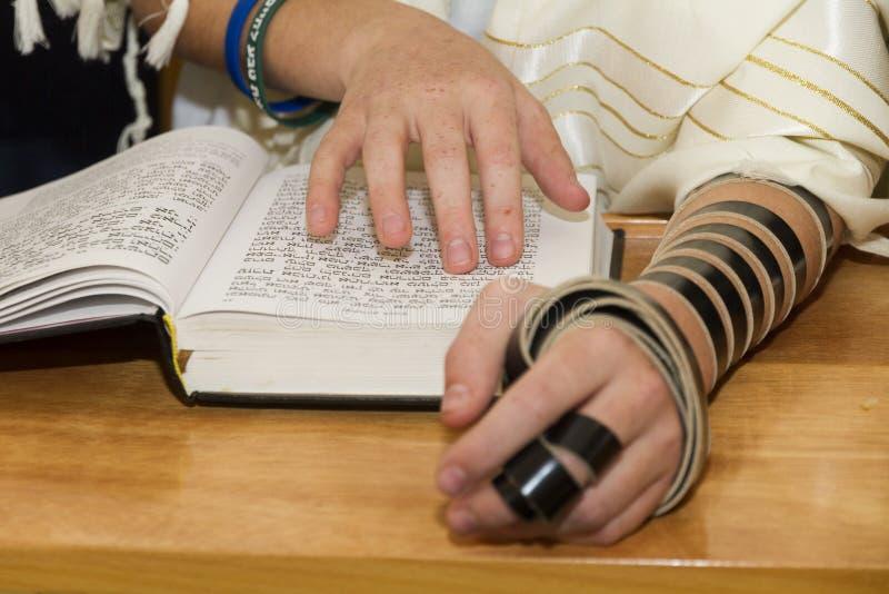 Un hombre joven que señala en una frase en un torah del sefer del libro de la biblia, mientras que lee una rogación en un ritual  imágenes de archivo libres de regalías