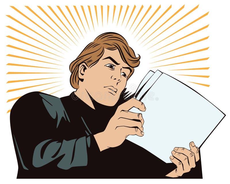 Un hombre lee los documentos Noticias, y hechos stock de ilustración