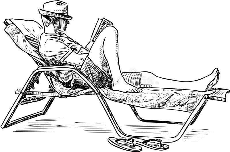 Un hombre lee un libro en la costa ilustración del vector