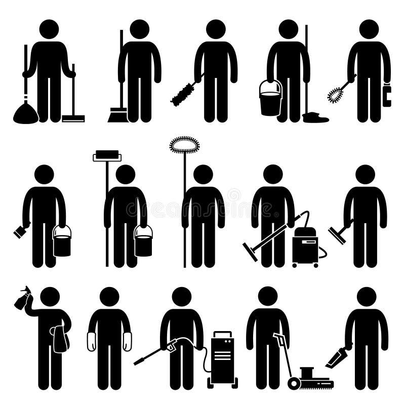 Un hombre más limpio con los iconos de las herramientas y de los equipos de la limpieza libre illustration
