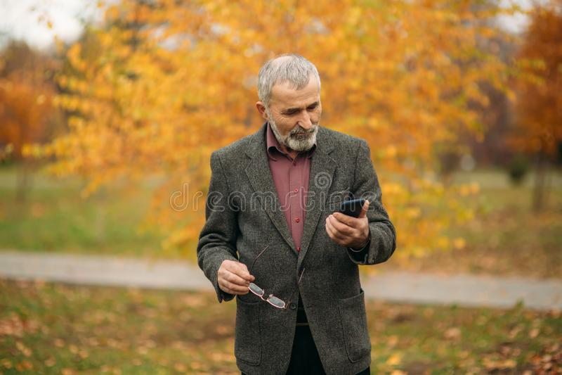 Un hombre mayor hermoso con la barba en vidrios está utilizando un teléfono Caminata en el parque en otoño fotos de archivo