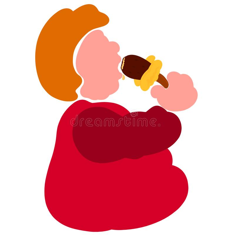 Un hombre muy gordo come con impaciencia el helado de chocolate stock de ilustración