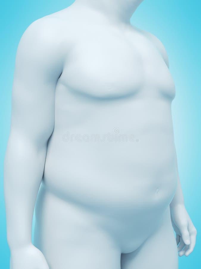 Un hombre obeso ilustración del vector