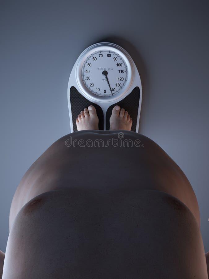 Un hombre obeso en una escala ilustración del vector