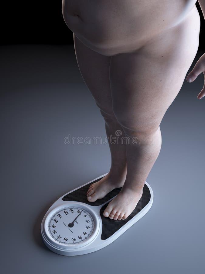 Un hombre obeso en una escala stock de ilustración