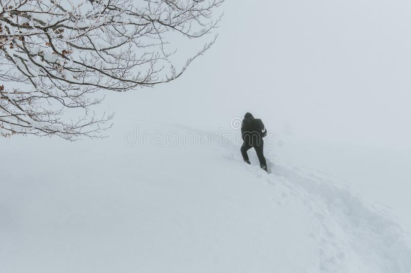 Un hombre pasa a través de una tormenta de la nieve fotos de archivo libres de regalías