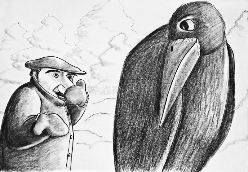 Un hombre que habla con un grajo ilustración del vector