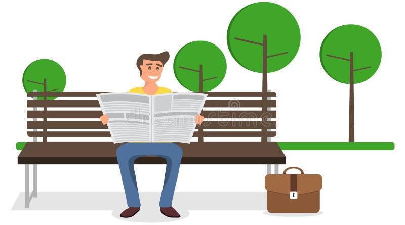 Un hombre que lee un periódico en un banco en el parque Un hombre se sienta en un banco y lee un periódico stock de ilustración