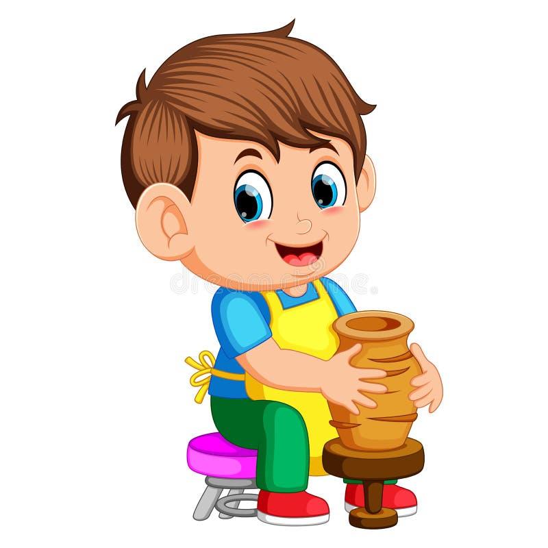 Un hombre que moldea un florero de arcilla en una rueda de alfarero adentro un taller de la cerámica stock de ilustración