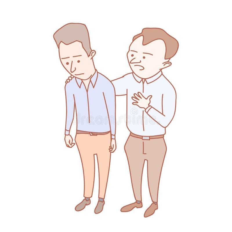 Un hombre que muestra la compasión a su colega ilustración del vector