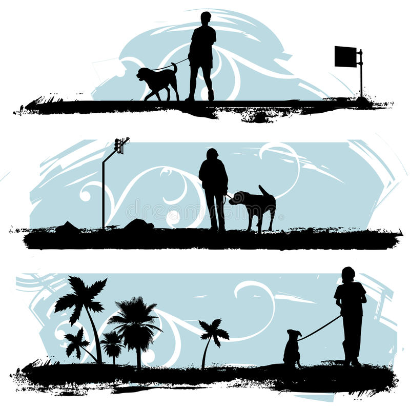 Un hombre que recorre su perro libre illustration