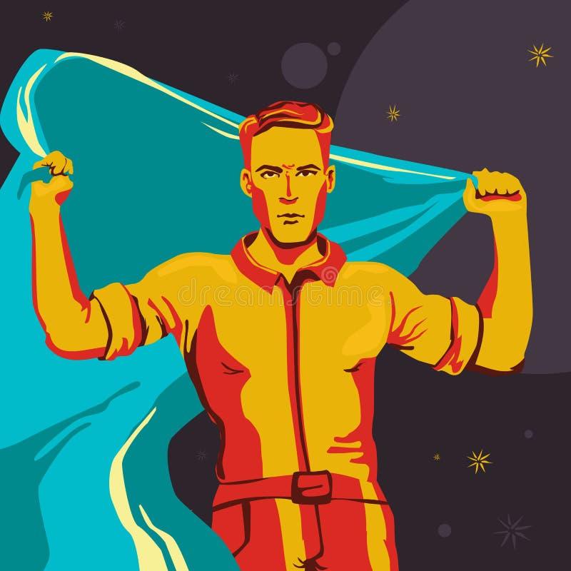 Un hombre que se coloca derecho con una bandera que se convierte grande Ejemplo del comunismo en colores azules y anaranjados stock de ilustración